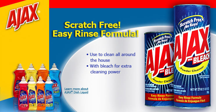 Ajax Bleach. Scratch Free! Easy Rinse Formula! Use to clean all around the house. With bleach for extra cleaning power.